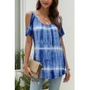 Popular Womens Tie Dye Printed Short Sleeve Cold Shoulder Loose Fit Tee Top in Blue