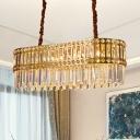 10 Lights Crystal Island Lamp Modernist Gold Elliptical Dining Room Hanging Ceiling Light