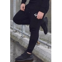 Fitness Mens Drawstring Waist Logo Printed Cuffed Ankle Slim Fitted Sweatpants