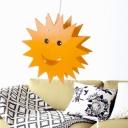 Wood Sunburst Pendant Ceiling Light Cartoon Single-Bulb Yellow Hanging Lamp for Kids Bedroom