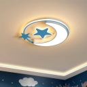 Kids Moon and Star Ceiling Flush Acrylic Bedroom LED Flush-Mount Light Fixture in Pink/Gold/Blue