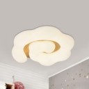 Cloud Close to Ceiling Light Kids Acrylic Child Room LED Flush Mounted Lamp in Wood