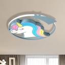 Unicorn/Giraffe Iron LED Flush Light Cartoon Style Pink/Yellow/Blue Ceiling Mounted Lamp for Kindergarten