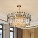 10-Light Ceiling Lamp Modern Bedroom Chandelier with Round Crystal Rectangle Shade in Gold