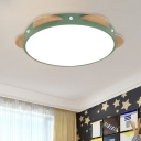 Circular Ceiling Mounted Fixture Macaron Acrylic LED Bedroom Flushmount in White/Green/Blue and Wood