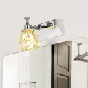 Floral Bathroom Vanity Light Contemporary Crystal 1/2/3-Head White Wall Lamp in Warm/White Light