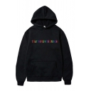 Letter Treat People with Kindness Print Long Sleeve Drawstring Pouch Pocket Loose Trendy Hoodie for Men