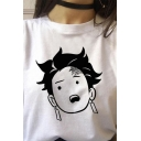 Girls Cartoon Face Rolled Short Sleeve Crew Neck Relaxed Trendy T Shirt in White