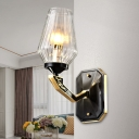1 Head Clear Ribbed Glass Wall Light Sconce Country Style Black Conical Bedroom Wall Mounted Lamp with Angled Arm