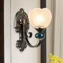 Petal Clear Ribbed Glass Wall Sconce Lighting Classic 1/2 Heads Bedroom Wall Light Fixture in Brass