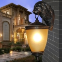 1 Head Yellow Glass Wall Sconce Lighting Lodge Dark Coffee Cone Outdoor Wall Light Fixture with Resin Lion Backplate