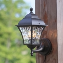 Dimple Glass Lantern Wall Light Countryside 1 Light Outdoor Wall Sconce Lamp in Dark Coffee