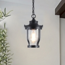 Rustic Lantern Pendant Light 1 Bulb Clear Glass Hanging Lamp in Textured Black for Balcony