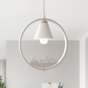 Tapered Iron Hanging Lamp Nordic 1 Light White/Black Ceiling Light with Ring and Sculpture Design