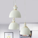 3-Light Bedroom Cluster Pendant Kids White Ceiling Hang Fixture with Dress Resin Shade