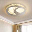 Moon/Star Crystal Ceiling Lamp Simple LED Bedroom Flush Mount Lighting Fixture in Nickel