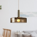Modernism Cylinder Hanging Lamp Smoke Gray Glass 1 Bulb Dining Room Ceiling Pendant Light