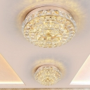 Crystal Gold Flush Mount Lamp Round LED Contemporary Ceiling Light Fixture in Warm/White Light