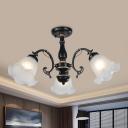 Classic Flower Semi Flush Mount Light 3/5 Heads Cream Glass Flushmount Lighting in Black/White