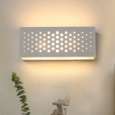 1 Head Corridor Surface Wall Sconce Modern White Up Down Light with Pierced Rectangle Plaster Shade