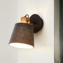 Black Cone Adjustable Reading Wall Light Nordic Single Fabric Wall Mounted Lamp with Wood Accent