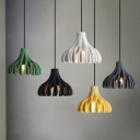 Barn Shaped Coral Hanging Lamp Macaron Resin 1 Light Yellow/Green/White Ceiling Pendant over Table