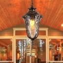 Bronze Urn-Shade Hanging Light Traditional Clear Glass 1-Light Outdoor Ceiling Pendant