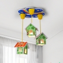 Wood House/Helicopter/Rabbit Flushmount Kids 6 Lights White/Blue/Green Ceiling Mount Light Fixture for Nursery