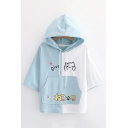Preppy Girls Color Block Three Quarter Sleeves Hooded Drawstring Letter Give Cat Graphic Pouch Pocket Relaxed T-Shirt