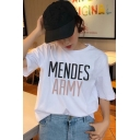 White Letter Mendes Army Print Short Sleeve Crew Neck Loose Fit Chic T Shirt for Girls