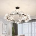 Circle Crystal Ceiling Chandelier Modern 15-Bulb Living Room Pendant in Black with Petal Design
