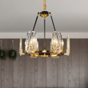 6-Bulb Chandelier Light Postmodern Circular Octagon Bubble Crystal Pendant Lamp in Gold