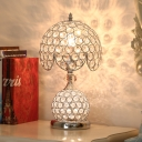 Scalloped Bedroom Night Light Traditional Crystal 1 Bulb Silver Table Lamp with Ball Base