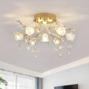 Crystal Floweret Semi Flush Chandelier Contemporary 7 Bulbs Hotel Ceiling Mount Light in Gold