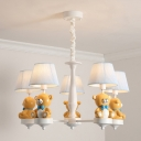 White Conical Chandelier Lighting Cartoon 3/5-Head Fabric Suspension Light with Bear Decor