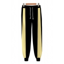 Colorblock Drawstring Waist Ankle Length Cuffed Tapered Fit Cosplay Sweatpants for Men