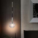 Clear Lattice Glass Ball Pendant Simple Single-Bulb Down Lighting with Black Adjustable Rod Arm