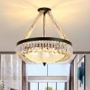 4-Head Crystal Prism Chandelier Vintage Black Circle Parlor Hanging Light with Bowl Textured Glass Shade