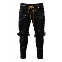 Chic Boys Distressed Paint Splashed Bow Tie Waist Ankle Skinny Jeans