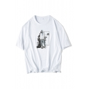 Stylish Mens Character Pattern Letter J2k Born Art Printed Short Sleeve Crew Neck Relaxed Fit Graphic T-Shirt