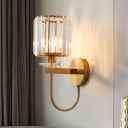 Crystal Cup Wall Mounted Light Postmodern Single Living Room Sconce with Gold Arched Arm