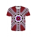 Stylish Mens Abstract Geometric 3D Patterned Short Sleeve Crew Neck Regular Fitted T Shirt