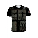 Cool Boys Pockets 3D Printed Short Sleeve Crew Neck Regular Fitted T-shirt in Black
