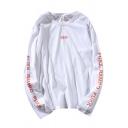 Cool Mens Letter Fukk Rampo Printed Long Sleeve Crew Neck Regular Fit T-Shirt