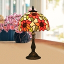 Sunflower Patterned Desk Light Tiffany Style Stained Glass 1 Head Bronze Table Lighting with Domed Shade