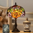 Rose Stained Glass Night Lighting Baroque 1-Bulb Bronze Nightstand Lamp with Bowl Shade