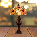 Red/Orange 2-Bulb Nightstand Lighting Victorian Stained Glass Sunflower/Floral Desk Lamp with Resin Reading Women Base