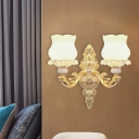 2-Bulb Wall Lighting Ideas Antiqued Flowerbud Frosted Glass Sconce Light with Carved Cloud Detail in Gold