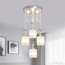 Drum Beveled Crystal Multi Light Pendant Contemporary 4 Heads Silver Hanging Lamp Kit for Dining Room