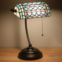 Square Patterned Cut Glass Desk Lamp Baroque 1-Head Brown/Blue Pull Chain Night Lighting for Bedroom